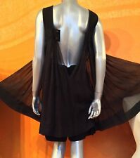 NWT $5280 AUTH CHANEL BLACK SILK JUMP SUITE DRESS OVER SHORTS  BOW BELT  SZ 40