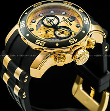 Invicta 48mm Mens Pro Diver Scuba VD53 Chronograph 18K Gold Plated SS PU Watch !