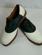 Polo RALPH LAUREN Golf Saddle Shoes 10 D White Green Blue Plaid Red Soles