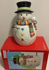 Snowman Cookie Jar NEW in Box- Red and Green Scarf w/ Black Top Hat
