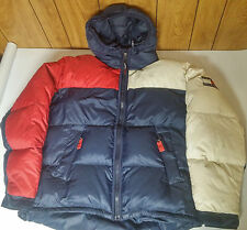 Vintage XL Tommy Hilfiger Puffer Down Jacket Ski Coat Colorblock Flag Spellout
