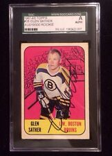 GLEN SATHER 1967-68 TOPPS ROOKIE Autographed Signed HOCKEY Card SGC 38 BRUINS FG
