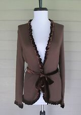 Provence d'amour Womens Brown Ruffle Trim Knit Cardigan Tie Waist Sweater  S