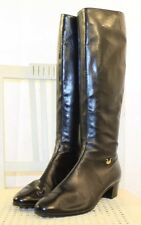 SALVATORE FERRAGAMO Black Leather Zip-Up Equestrian Riding Knee Boots 8AAA ITALY