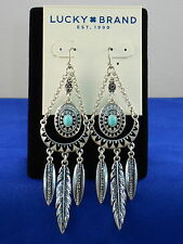Lucky Brand Silver Turquoise Pave' Feather Heritage Chandelier Earrings JLRY6213
