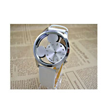 White Classical Mickey Mouse Hollow Dial Kids Watch Leather Band Girl Gifts
