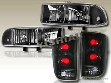 1998-2004 CHEVY BLAZER HEADLIGHTS BLACK + TAIL LIGHTS DARK SMOKE