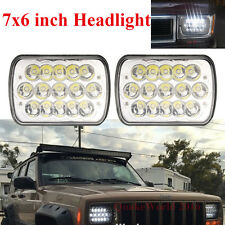 "Pair 7""X6"" LED Headlight HID Cree Light Bulbs Crystal Clear Sealed Beam Headlamp"