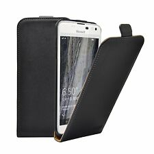 SLIM BLACK Leather Flip Case Cover Pouch For Microsoft Lumia 650 (+2 FILMS)