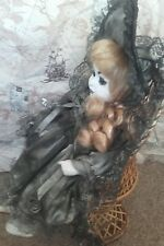 Ghost In Chair Gothic creepy Scary Repainted prop horror  porcelian dead doll