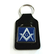 "Masonic  ""G""  Freemason Key Ring - Blue, black leather key ring fob"