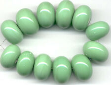 12 Lampwork Handmade Glass Beads Opaque Green Rondelle Jewelry Making Spacer