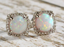 Sterling Silver 925 Created Opal & Diamond Round Halo Style Stud Earrings