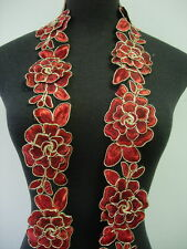 """TL141-3 2.5"""" Tier Floral Rose Red Trims Cord Lace Edging Sewing/Bridal/Gown 1Y"""