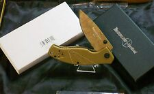 "Tactical Knife 4311 SOC Open Frame-lock 4-1/2"" Pocket Clip Tan Colored Body Nice"