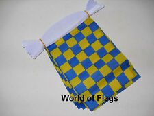 BLUE and YELLOW CHECK FLAG BUNTING Checkered 9m 30 Fabric Flags Racing Sport