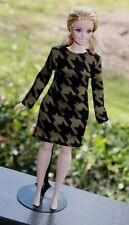 """Clothes for Curvy Barbie Doll. """"Houndstooth"""" print dress for Dolls."""