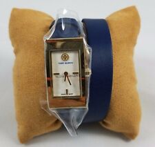 Tory Burch Buddy Signature Gold Watch double wrap Navy Leather/ Gold Tone