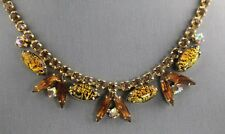 50s VINTAGE Jewelry TOPAZ RHINESTONE & DICHROIC STYLE ART GLASS NECKLACE - 14""