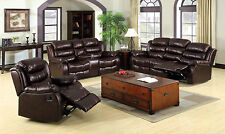 Brown Bonded Leather 3 Pc Sofa Loveseat With Center Console Recliner Living Room