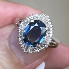 Very Pretty 2.10ct Blue Sapphire & Diamond Ring In Platinum