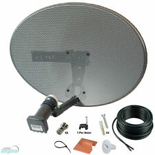 Sky Mk4 Zone 1 Satellite Dish & Quad Lnb + 10m Black Twin Cable Kit ! Freesat HD
