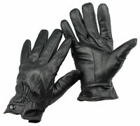 Mens 100% Real Leather Fleece Lined Thermal Insulated Gloves