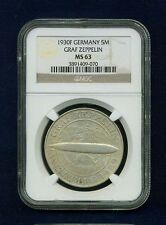 "GERMANY WEIMAR REP. 1930-F 5 REICHSMARK ""GRAF ZEPPELIN"" COIN, CERTIFIED NGC MS63"