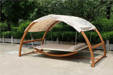 New Double Arched Wooden Swing Hammock Bed w/ Canopy 2 Person Outdoor Chair