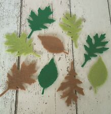 9pcs large Green & Brown Leaf Leaves die cut felt ~applique, card making,wreaths