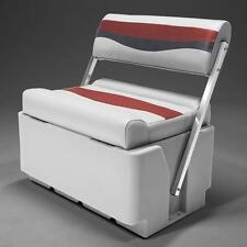 Flip Flop Pontoon Boat Seat In Gray, Red and Charcoal