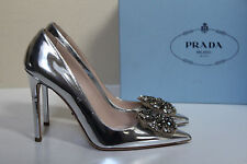 sz 8.5 / 39 Prada Metal Silver Embellished Patent Leather Pointy Toe Pump Shoes