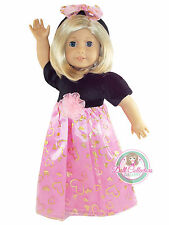 "DR HEART DRESS for 18"" American Girl Dolls Pink Hearts Black Outfit Clothes NEW"