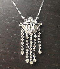Gorgeous! Antique Art Deco Paste Germany Sterling Lavaliere Pendant Necklace