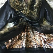 SALE TODAY MSRP $899 CACHE BLK / BRN MED LEATHER JACKET FOX/RACCOON FUR COLLAR