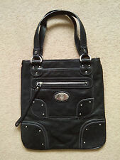 Bally anthracite genuine leather shoulder bag workwear designer medium size