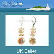 PEACH ROSA ACQUA DOLCE MEDAGLIA Pearl LEVA indietro lungo Orecchini con perla Isola