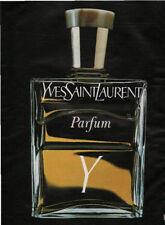 Publicité Advertising  YVES SAINT LAURENT parfum Y