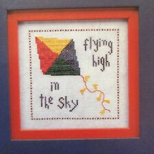 Wee Kite counted cross stitch pattern leaflet, fabric, & floss lot