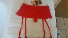 Classified Red Lace Skirted Suspender Thong Size Small 8 - 10  NWT