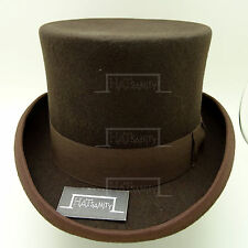 Vintage Wool Felt English Gentleman Gents Formal Tuxedo Topper Top Hat Brown
