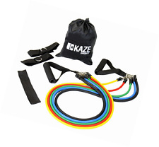 Kaze Sports Fitness Resistance Band Set with Door Anchor, Ankle Strap, Exercise