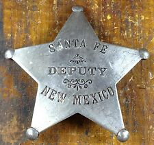 Santa Fe NM New Mexico 5 Point Star Silver Plate Pinback Old West Style Badge