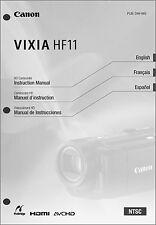 Canon VIXIA HF11 Camcorder User Instruction Guide  Manual