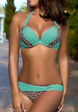 NEW 65C / S Bikini Rita Push-up NEON BLUE Leopard High Quality GABBIANO