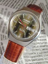 SUNSET ALARM VINTAGE MENS AUTOMATIC cal AS5008  watch Made in SWISS  Day & Date