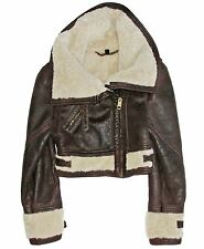 BURBERRY PRORSUM Cropped Shearling Fur Brown Leather Aviator Bomber Jacket