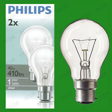 2x 40W Philips Clear Incandescent Standard GLS Light Bulbs Bayonet Cap, BC B22