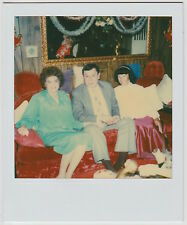 Vintage 80s PHOTO Polaroid People On Red Couch Woman In Mirror Reflection