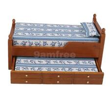 1:12 Scale Wooden Brown Drawer Bed Dolls House Miniature Bedroom Accessory